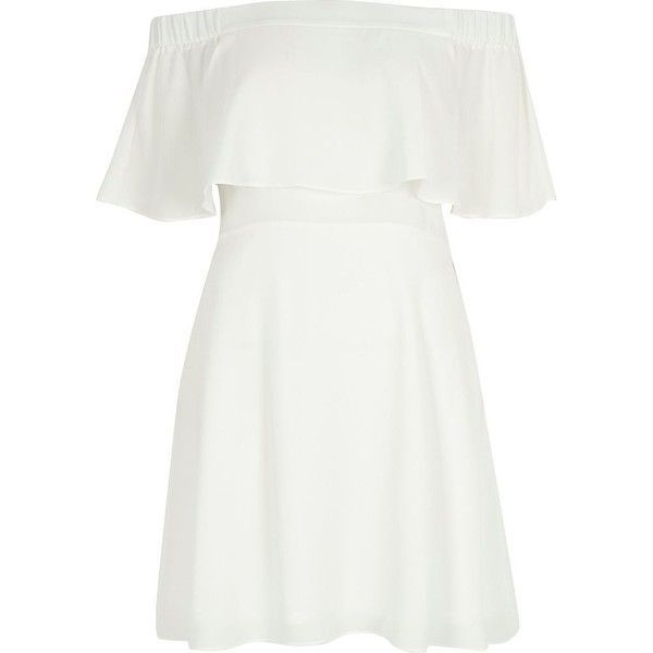 River Island Cream deep frill bardot dress (910 HNL) ❤ liked on Polyvore featuring dresses, bardot / bandeau dresses, cream, women, white crepe dress, ruffle dress, cream cocktail dress, flared mini skirt and white ruffle dress