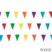 Multicolor Pennant Banner  $8.50 100 ft via @Amy Zhan Trading Company