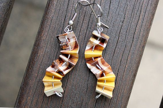 Unique Paper Earrings. Wavy Concertina Design. Yellows, browns & creams. $20.00. Made by ThePaperer.