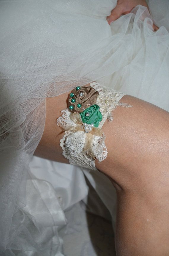Wedding Garters Bridal Lace Accessory Handmade Garter Gold