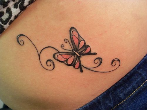 Butterfly tattoo ... love this! Perfect companion to/for the Tribal Dragonfly on my R shoulder!