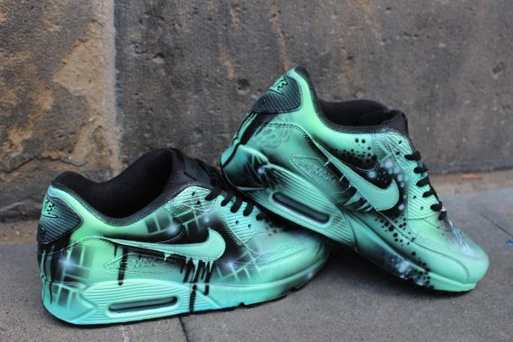 Custom Nike Air max 90 mint Black Abstract graffiti Drip Sneaker *UNIKAT* Rare « SALE » Price for a short time