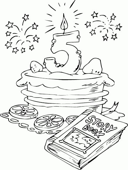 birthday cake age 5 coloring page - coloring.com