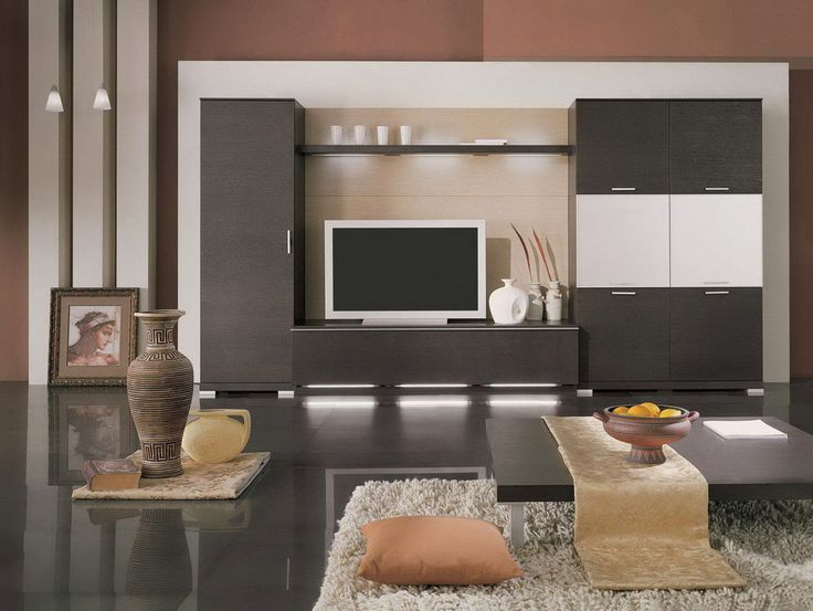 Creative Room Ideas With Black Coffee Table And Desk Tv Along Bookshelves Also White Carpet Of Fur Awesome Living From