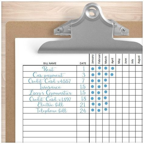 Bill Payment Tracker Log Sheet EXAMPLE - Printable Planning
