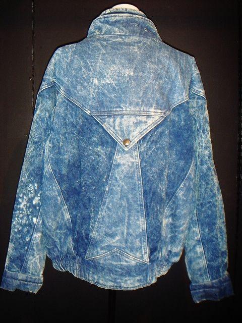 80's denim&corduroy design blouson / 80年代 ケミカルウォッシュ デニム コーデュロイ ブルゾン ジャケット Gジャン オーバーサイズ 中綿 ダウン カジュアル 古着 通販 USED アメリカ ヴィンテージ レディース メンズ