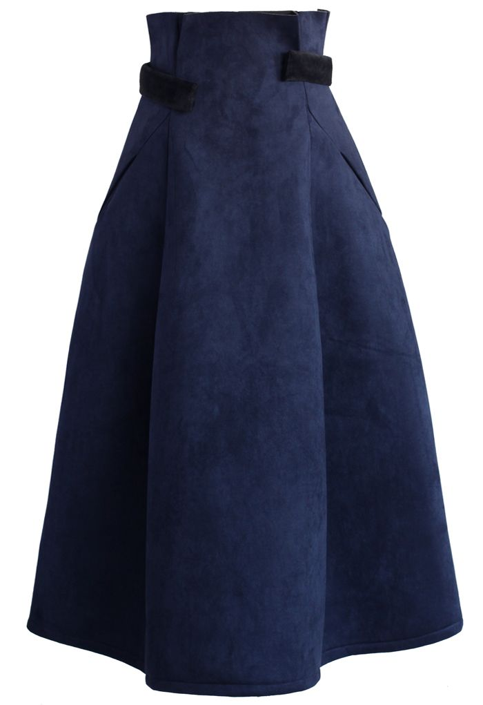 Aromatic Faux Suede Full Skirt in Navy - Retro, Indie and Unique Fashion