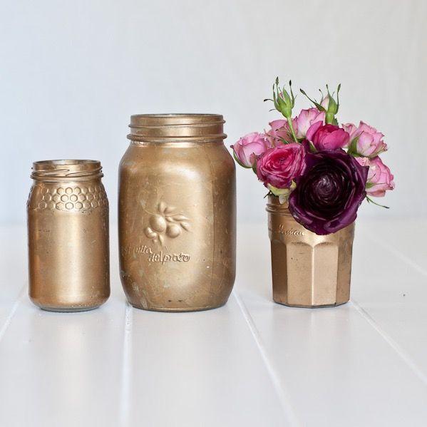 Tarnished Gold Mason Jars for floral arrangements
