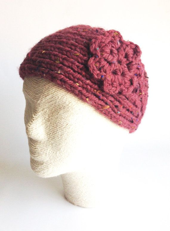 Chunky Burgundy Hairband with crochet flower by LaVieBoeretroos