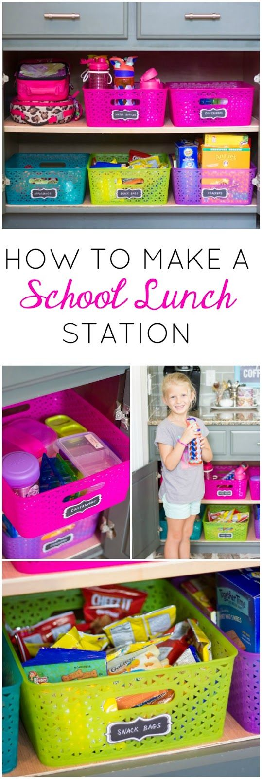 How to make a school lunch station - so helpful for empowering kids to make their own lunches!
