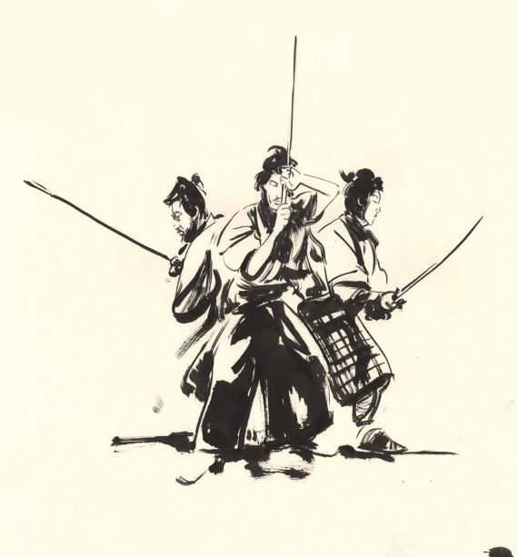 THREE OUTLAW SAMURAI Criterion Collection art Cover by Gregthings, $185.00