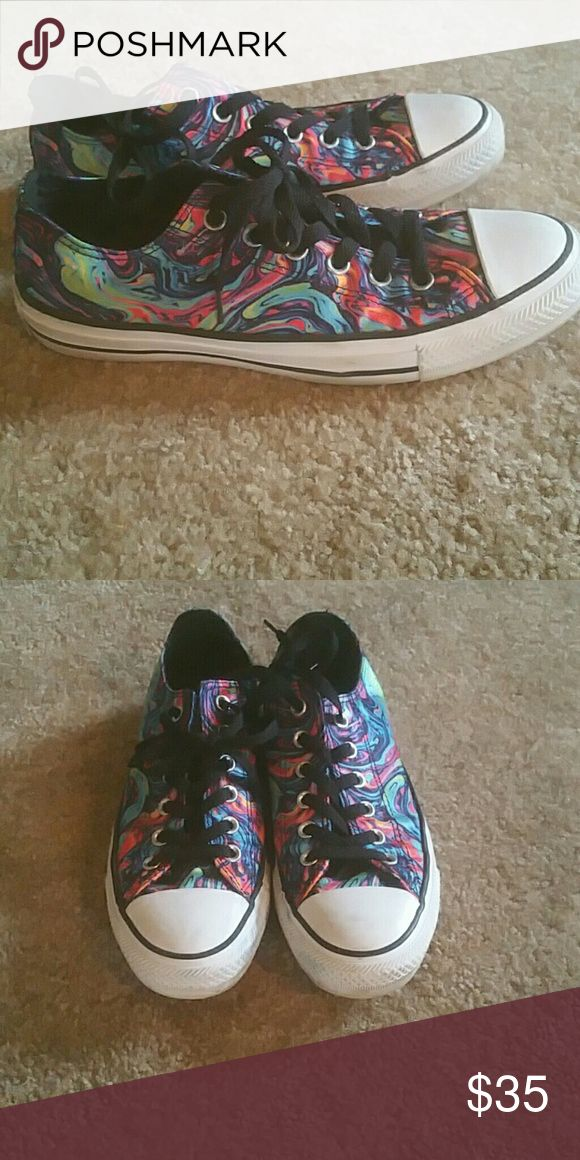 Multicolored converse Neon colored converse shoes.  Excellent  condition. Any scrapes shown on the rubber will be erased and inspected  for anyone worried about authenticity - I want all of us ladies to be able to share good feedback back and and sales. Any questions, feel free to ask!!! Converse Shoes Athletic Shoes
