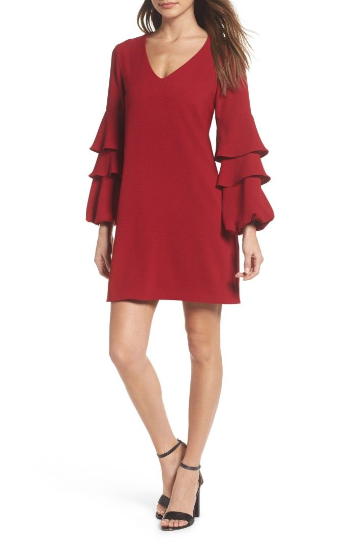 Charles Henry Tiered Ruffle Sleeve Dress (Regular & Petite). Also in Black. Softly gliding over curves, the classic shift made of vibrant crepe is framed with tiered ruffle sleeves that offer a bit of contemporary flair.