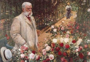 """Jules Léopold Gravereaux (1844 bzw. 1841 -1916) französischer Geschaftsmann und Rosenzüchter, in seiem berühmten Rosengarten l'Haÿ les-Roses""""."""
