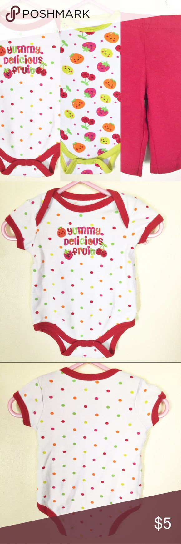 Set of 2 Onesies/Bodysuits & Matching Pants NWOT Set of 2 fruit themed onesies and matching red pants. Super cute! Check out the photos to see detail of each piece. These were never worn. 0-3 Months. From Wee Play, makers of Carter's. 100% cotton wee play Matching Sets