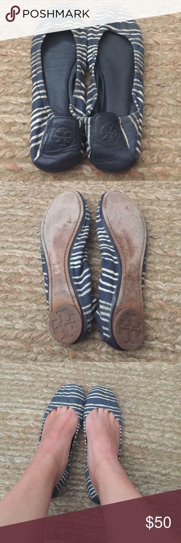 Tory burch blue and white flats Linen type fabric with leather backing and TB logo on heel. Some discoloration on sides (see pics), not noticable while wearing though. Light and comfortable springy/summery flat! Tory Burch Shoes Flats & Loafers