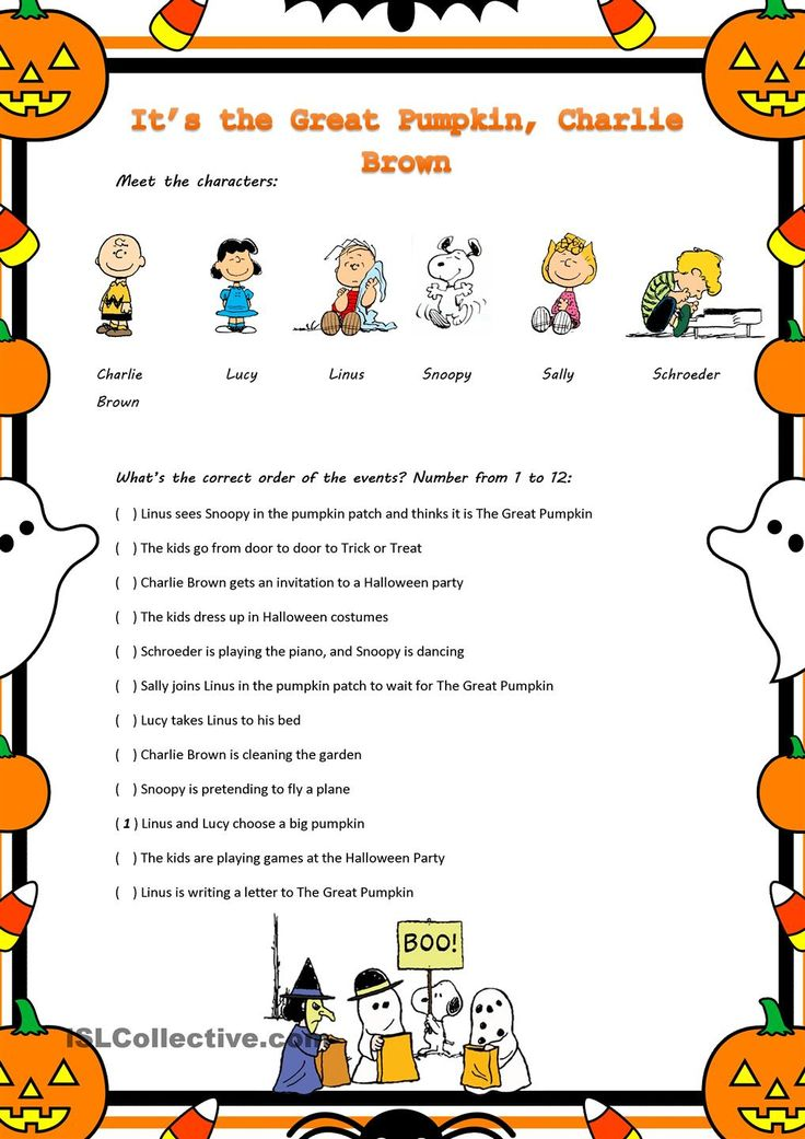 its the great pumpkin charlie brown movie worksheet - Charlie Brown Halloween Cartoon