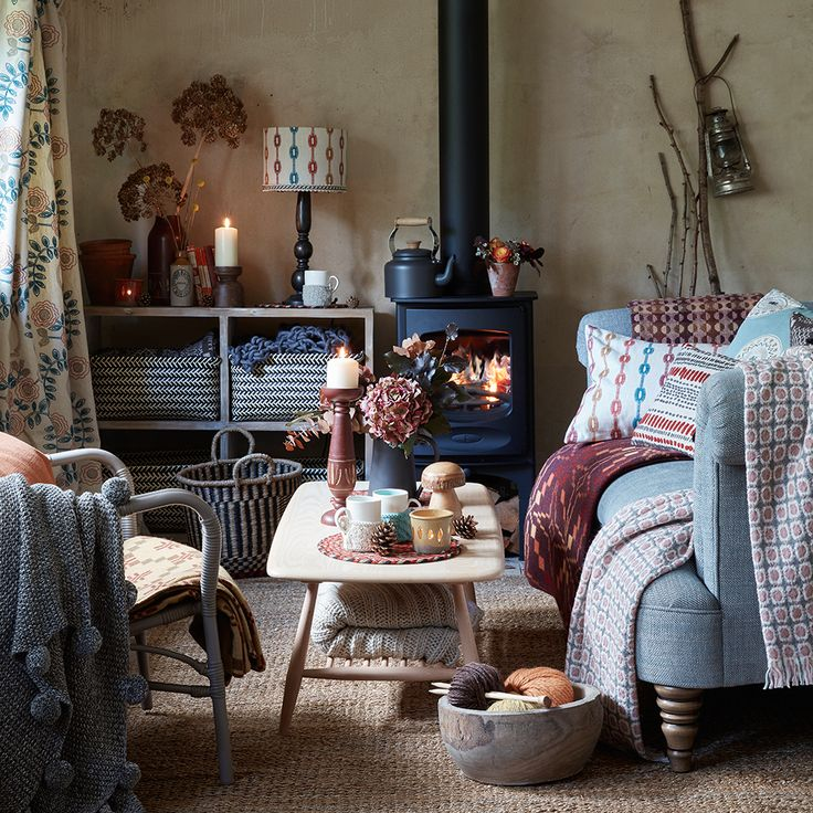 Cosy living room with folky prints