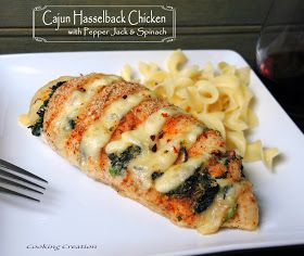 Hasselback Chicken ~ Cajun with Pepper Jack & Spinach. This recipe is amazing! One of the easiest, tastiest things I've found on pinterest!