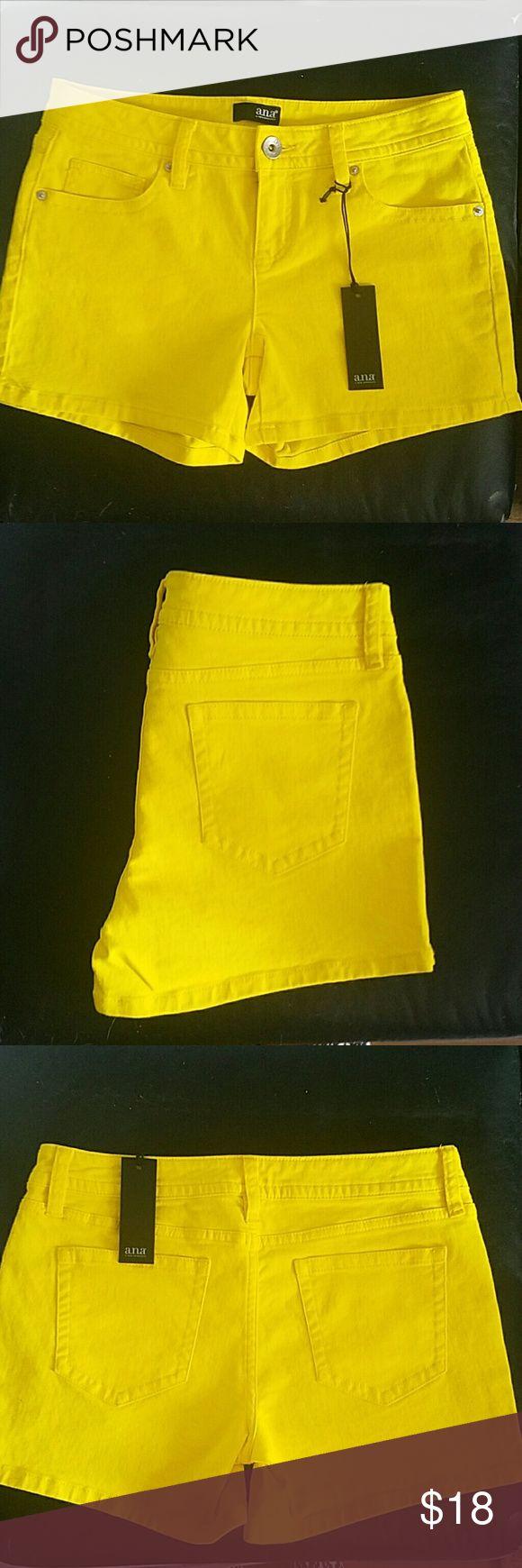 NWT cute yellow shorts! NWT A.n.a shorts. Super cute on! Size 27/4 women's. a.n.a Shorts