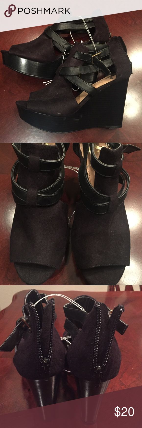 """Black wedge sandals - brand new, never worn These are darling black wedge sandals - brand new & never worn. They have a 5"""" heel Report Shoes"""