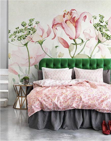 Verse bloemen behang aquarel Dill Blossoms muur door DreamyWall