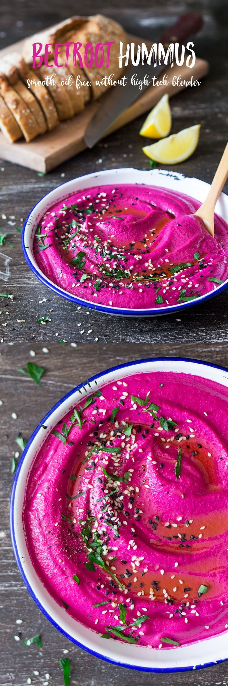 Thanks to a few tricks and a secret ingredient, this #beetroot #hummus is super #smooth despite no added oil and a very average blender. #vegan #glutenfree #vegetarian #recipe #recipes #appetizer #starter #mezze