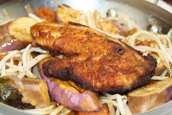 Asian Pan-seared Salmon on Bean Sprouts and Japanese Eggplants