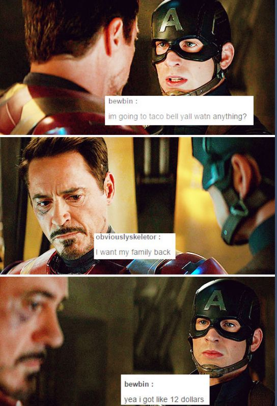 Accurate.  And #TooSoon (Captain America: Civil War. Tony Stark. Steve Rogers)