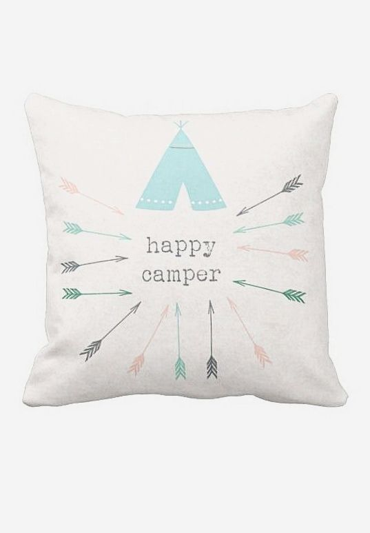 Pillow Cover Happy Camper Tribal Arrows. Loving the colors, pattern and overall adorable-ness of this accent pillow. Perfect #Nursery Inspiration.
