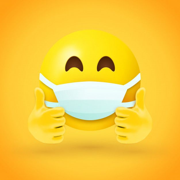 Emoji With Mouth Mask And Thumbs Up In 2020 Emoji Mask Emoji Images Thumbs Up Smiley