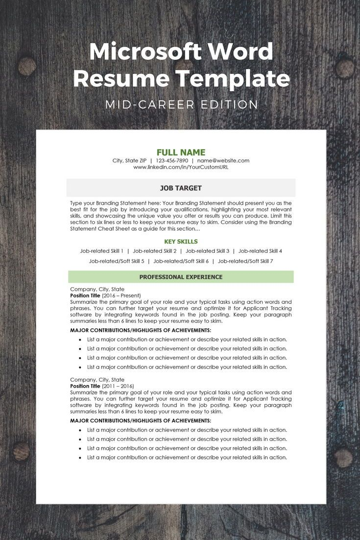 modern resume template mid career edition work pinterest