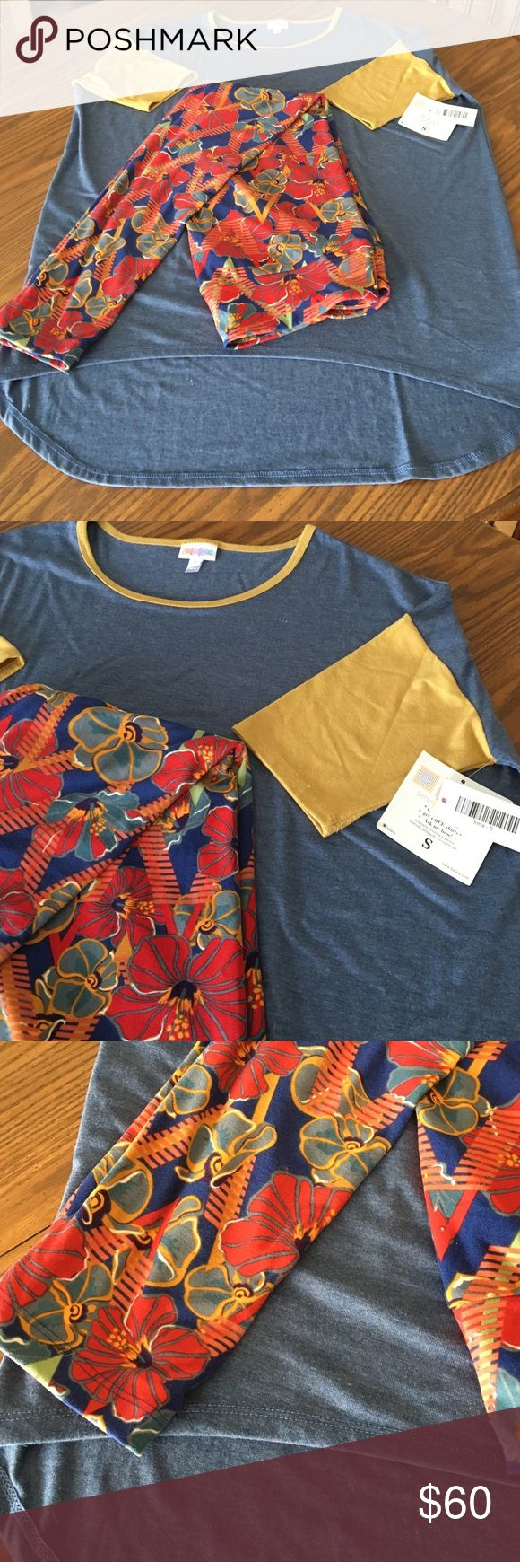 LULA ROE leggings and Irma top set Leggings are tall and curvy size which fit anyone, they are just not super tight. Top is Irma with high/low baseball style. Size small but fits up to 10-12 on top. Brand new, never worn. Leggings do not have tags. Never worn never washed LuLaRoe Other