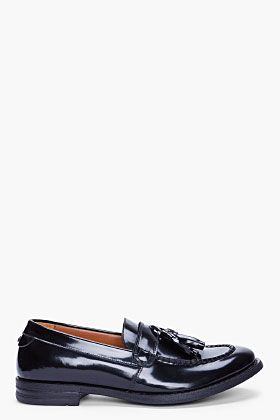 Alexander McQueen Black Patent Rudeboy Loafers for Men