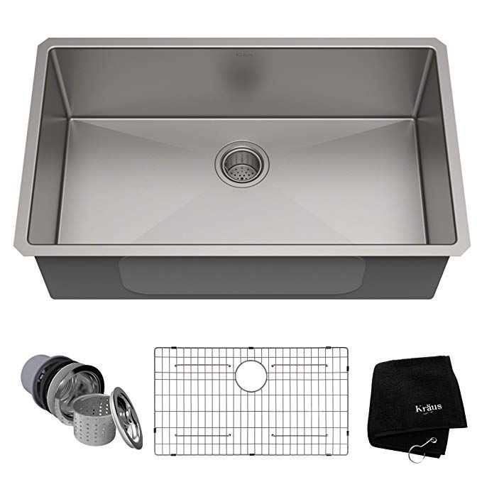 Kraus Standart Pro 32 Inch 16 Gauge Undermount Single Bowl Stainless Steel Kitchen Sink K Farmhouse Sink Kitchen Kitchen Sink Remodel Undermount Kitchen Sinks