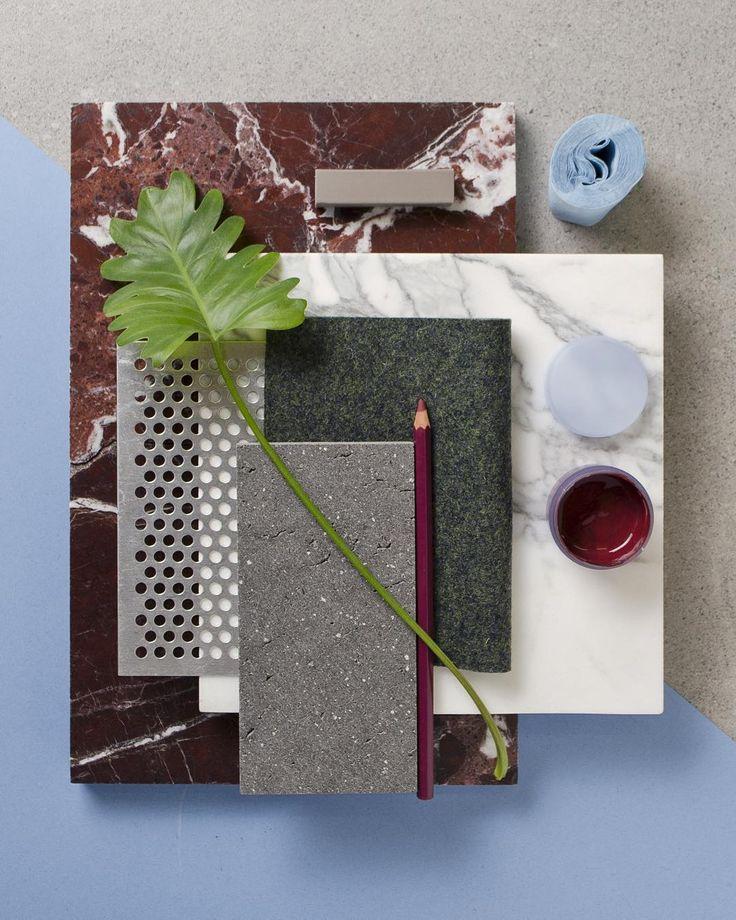 "(@studiodavidthulstrup) on Instagram: ""Weekly material mood 〰 Cherry Levanto Marble, Pastel blue and Metal mesh. #marble…"""