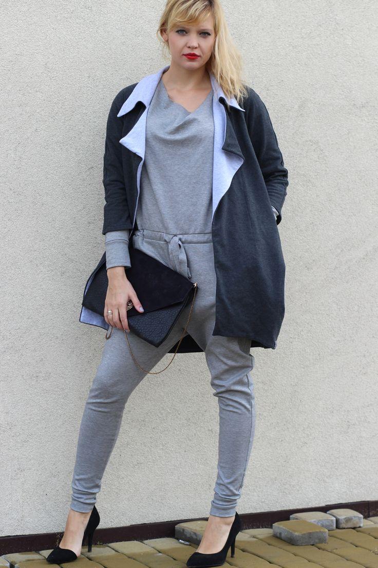 Moja Stylizacja: Szary Kombinezon #fashion #polish blogger #style #street fashion #made in poland