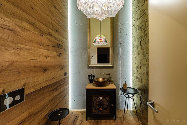 Eclectic guest bathroom with custom made lighting and vintage elements, Backstage concept - Apartment M, Bucharest