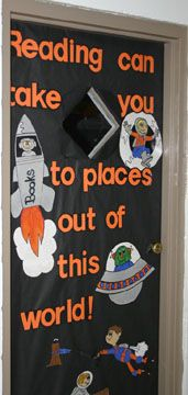 """Reading Can Take You To Places Out Of This World"" is a space-tacular title for a classroom door that highlights reading."