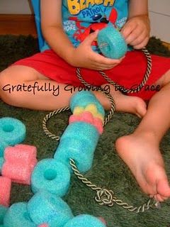 I see this as a FANTASTIC tool for Occupational Therapists working with neuro / tactile challenged patients of all ages.  Repinned by SOS Inc. Resources.  Follow all our boards at http://pinterest.com/sostherapy  for therapy resources.  Love this idea.  I'm cutting our noodle up this weekend!