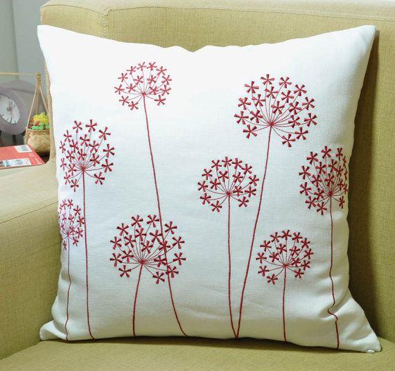 Rojo flor almohada cubierta blanco lino rojo Queen Ann por KainKain