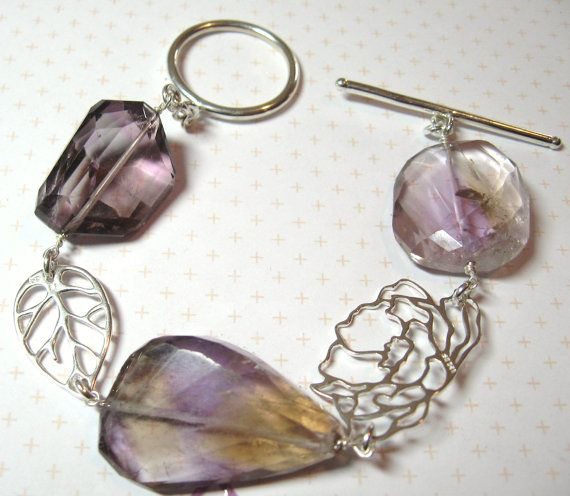 Faceted Nugget Ametrine and Sterling Silver by DirtyBirdJewellery