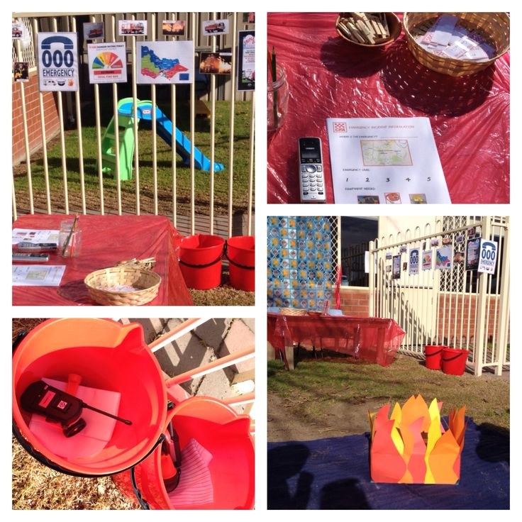 Fire Station Socio-Dramatic Play: images of fire fighters and CFA posters to decorate the area; fire buckets with walkie talkies, fire blankets and hose taps inside; phones and incident reports on the table for answering 000 calls. Allows children to explore the role of firefighters in our community and builds visual literacy, communication and pre writing skills. Created by Kirsty Moodie.