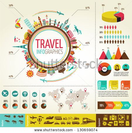 Travel infographics with data icons and elements by Marish, via Shutterstock