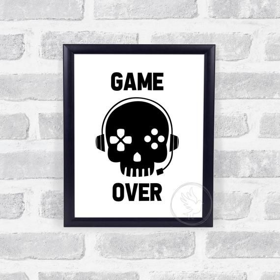 Game Over Wall Print, Gaming Wall Print, Teen Room Decor, Boy Teen Wall Decor, Gamer Wall Decor