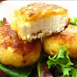 Crusted Goat Cheese Medallions on BigOven: This is an ideal recipe for the warm summer months. If you like goat cheese,this is a great recipe to try. It makes a lovely presentation on top of a spring mix salad or over some sauteed spinach. I used a 6 oz(or so) plain goat cheese log.