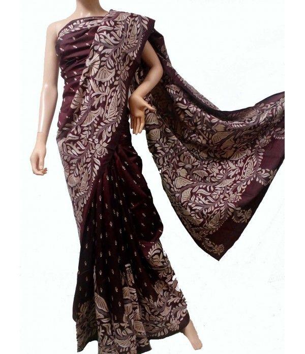 Dark Maroon Kantha Work Pure Silk Saree
