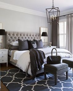 """Black, white and every shade in between! Very cool bedroom by Sneller Custom Homes """
