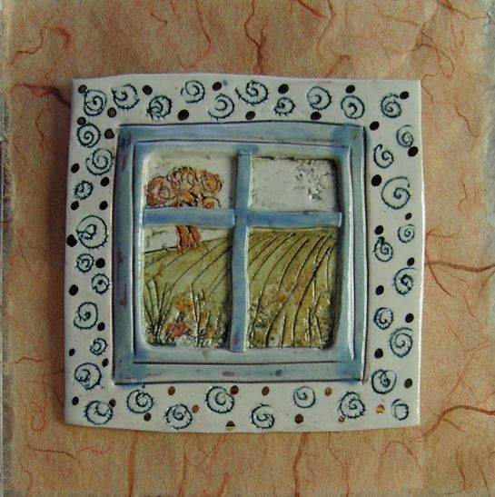 Robin Wade  10cm Landscape Panel (2007)  Miniature window plaque. Painted porcelain mounted on silk paper enhanced with lustre detail.    Tile 10cm square  Porcelain