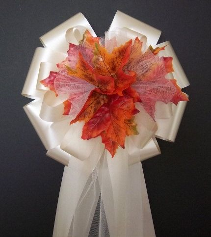 Arrive Full and Fluffed ready to use    This listing contains 1 set of 12 Ivory Ribbon w/Fall Autumn Leafs Pew Bows  If you need an larger or